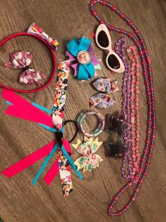 Girl hair accessories and necklaces/sunglasses. $10