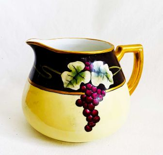 Antique Bavaria China Water Pitcher Floral Grape