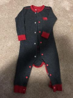 Charcoal Bear Naked Baby Union Suit