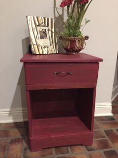 Red Distressed End Table