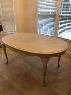 Solid wood ivory chalk painted & glazed dining table with leaf