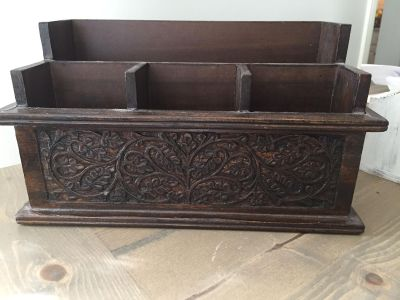 Beautiful Carved Wooden Organizer