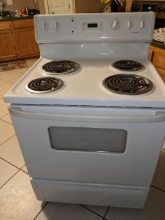 Hotpoint, white, direct wire electric stove