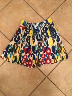 Small, colorful, patterned mini skirt!