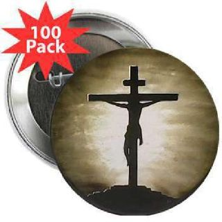 Jesus on the cross, religious art pin