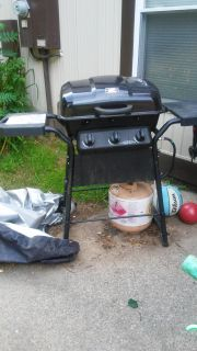 Grill, cover and FULL propane tank