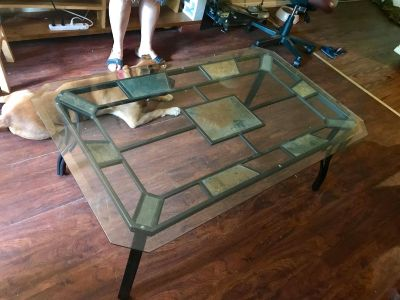 Glass top coffee table with stone