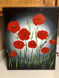 Hand painted poppies