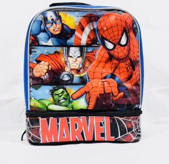 Marvel Insulated Dual Compartment Lunch Bag Spider Man Thor Hulk Captain America