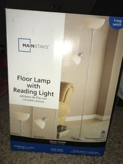 Mainstays silver floor lamp with reading light