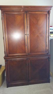 $150, 2 piece large solid oak computer hutch reduced