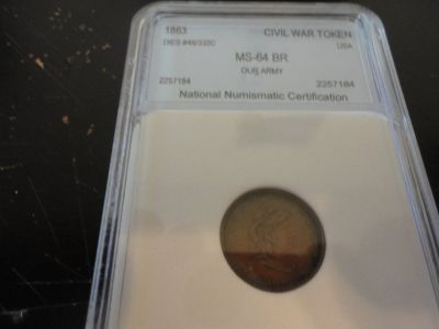 1863 ms 64 rb civil war token our army