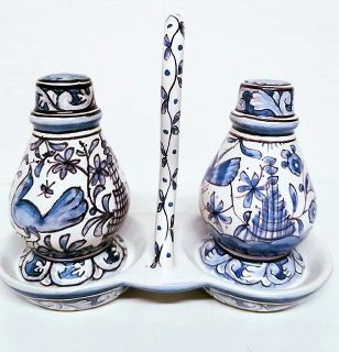 XVII Century Hand Painted Salt/Pepper Shakers W Caddy Made In Portugal