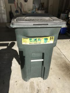 Toter Residential Heavy Duty 2-Wheeled Trash Can with Attached Lid, 64-Gallon, Greenstone