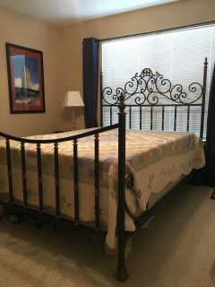 Queen size wrought iron bed framefrom Bobmbay Company