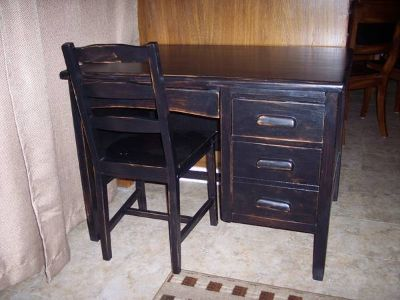 Desk and Chair - Antique Black, solid wood