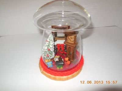 Christmas scene in glass globe