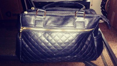 Women's Black Leather Purse w/Gold Accents