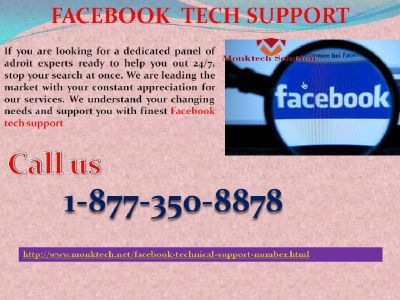 Enjoy unprecedented services now with our Facebook Tech Support @ 1-877-350-8878