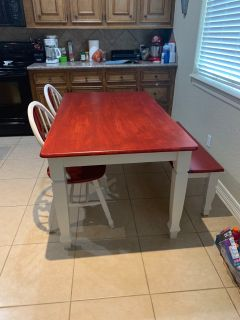 White and red farmhouse style table