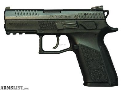For Sale: CZ 91086 P-07 Compact Semi Auto Pistol 9MM, 3.8 in, Poly Grp, 15+1 Rnd, 3-Dot Fixed, Full Sz Blk Frame, SA/DA Trgr