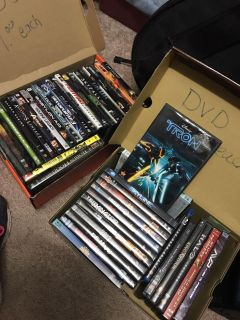2 boxes of dvds and Blu-ray s