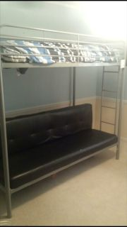 Bunk bed with mattress gray