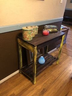 Solid wood rustic hallway table with 2 drawers
