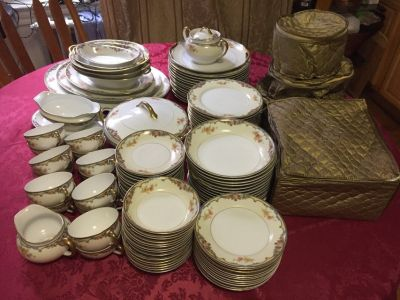noritake oxford 85963 dinnerware china set,made in japan, 116 pcs , rare antique