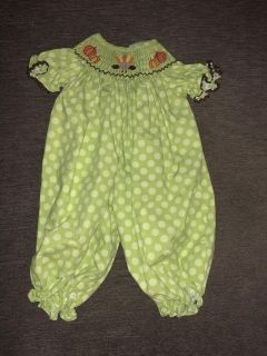 6 month girl Classic Whimsy smocked thanksgiving bubble