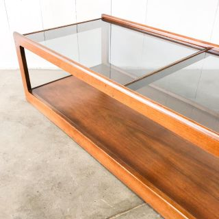 Walnut and smoky glass mcm coffee table