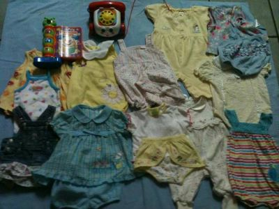 Baby Girl Summer Clothes 0-3 3-6 Months plus 2 fisher Price Toys