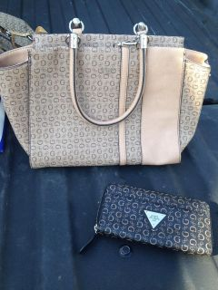 Guess purse & matching wallet, cleaning out closet & hardly ever used this one