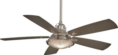 "Minka-Aire Groton 56"" Ceiling Fan with Light & Remote Control, Polished Nickel"