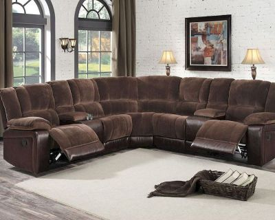 NEW! QUALITY URBAN 2TONE SOFA RECLINER SECTIONAL W/CUPHOLDERS!:)