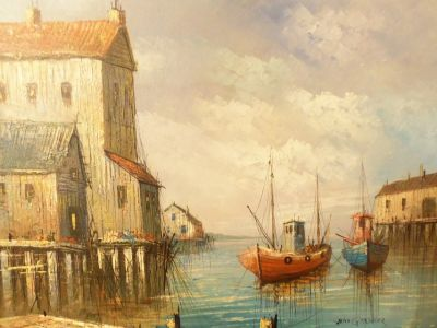 *** Original *** Seascape Oil Painting Boat Nautical Scene LARGE Picture Signed