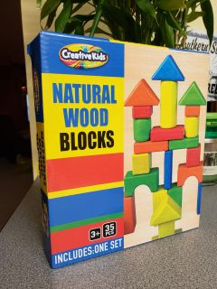 Brand New. Natural Wood Blocks. 35 Pieces