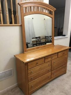 7 Drawer Lightwood Dresser & Mirror