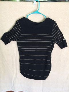 Light weight sweater 3/4 sleeves. Size Small. Black with Gold stripes