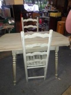 Country rustic shabby chic table & 2 ladder back chairs