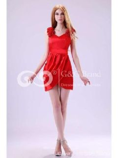 Massoo Ruby Satin Column Semi-formal Dress Mini with Pleats MS75EQ296