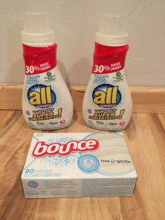New all free & clear laundry detergent & bounce free & gentle dryer sheets