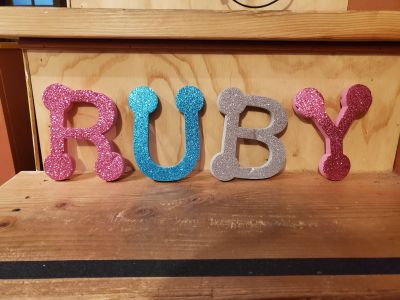 Sparkly foam letters