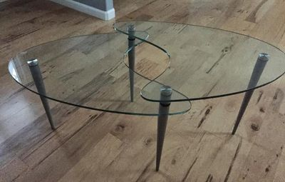 $50, Two-tiered glass coffee table