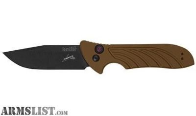 For Sale: Kershaw Emerson Launch 5 Exclusive BW/PL Earthbrown Aluminum Scales Automatic Knife 3.4 Blackwash 7600EBBW