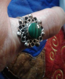 VINTAGE AUTHENTIC Green Turquoise Ring Size 9 EUC