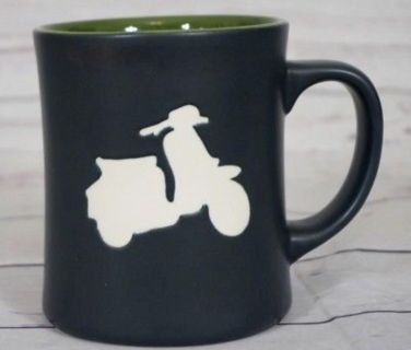 Starbucks Scooter Coffee Mug Moped Vespa RARE Black Embossed Cup 2011- A Great Find For Collectors!