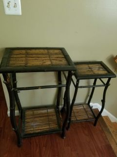 2 beautiful bamboo accent tables