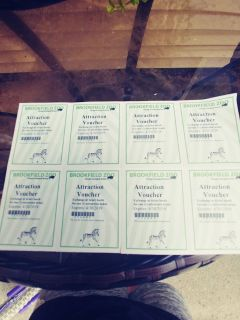 8 attaction tickets to brookfield zoo usually 12 a piece
