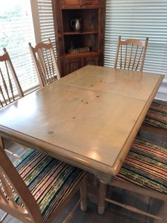 Rustic Solid Wood Dining Table w/ 8 Chairs